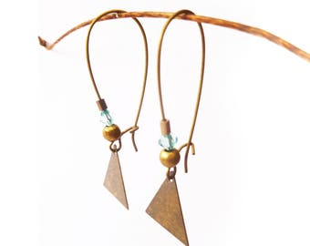 RAZANE sky ▷ earrings, triangle pendant bronze and touches of sky blue!