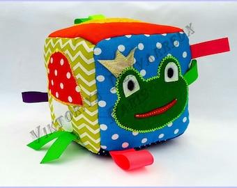Fabric  baby block Busy block Sensory block Sensory toys Baby gift Newborn baby toys