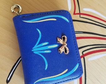 Blue pinstriped change purse/mini wallet