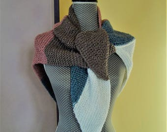 Woolen shawl warms - shoulder scarf shawl four color corded lurex - Brown pink blue white thread