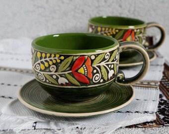 Christmas gift for mom Pair of mugs and saucers Green mug set of 2 Stoneware mug pottery Thank you gift ideas Mug for daughter gift set