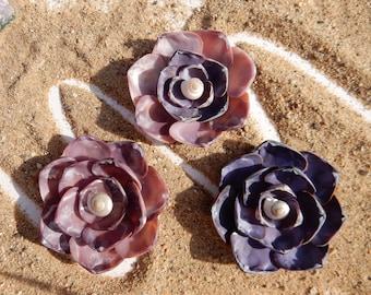 Purple seashell flower magnet or ornament, sea shell flower, beach magnet or ornament, seashell magnet or ornament