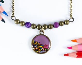 "Purple Choker ""Chromatic"" pencil shavings"