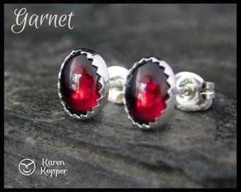 Red garnet earrings, oval earrings 8x6 mm. Sterling silver 0.925. January birthstone. Ready to ship! 115