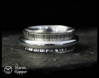 Spinner ring, sterling silver, with half-round wire, made at your size. Wedding bands, engagement ring, ring for men