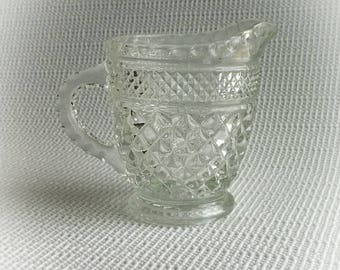 1960s Vintage Wexford 14 oz Cream Pitcher by Anchor Hocking Diamond Crystal Glass Coffee Lovers Vintage Wedding Decor