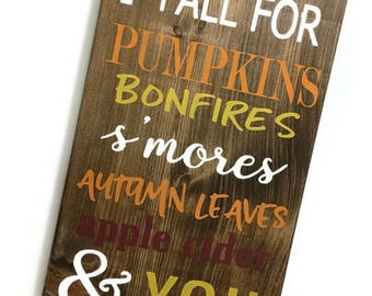 every year I fall for - every year I fall for wood sign - fall wall hanging - fall wall decor - fall signs - pumpkin wood sign - fall words