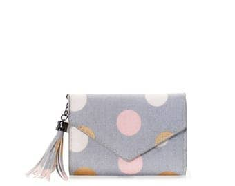 Small wallet women cards Oilcloth pocket wallet, Compact purse, polka dot, mini vegan purse, Travel card wallet, Ladies Teenage girl purse