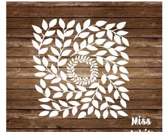 Leaf Frame Monogram   SVG Cut file  Cricut explore file Love Wedding fabric decal    Guest book wedding