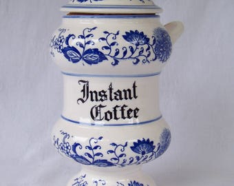Blue Onion Instant Coffee Canister, Made in Japan