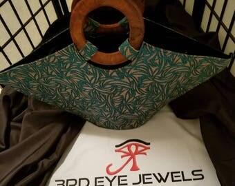 African Wood Handle Fabric Bag