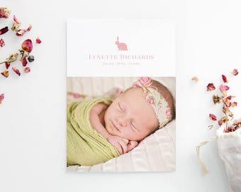 Newborn Birth Announcements - Bunny Rabbit - Minimalist Modern - Photo Cards - Baby Girl - Adoption Announcement - Custom Printed
