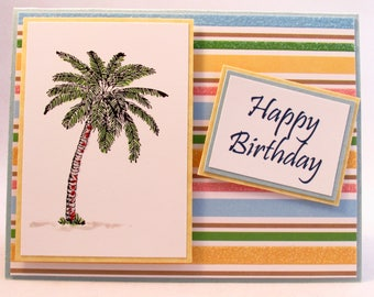 Birthday Card, handmade card, Tropical birthday, tropical card, Happy Birthday, unisex card, colorful card, MADE TO ORDER