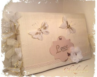 """Ivory fabric covered personalized guest book for wedding """"love"""" very romantic"""