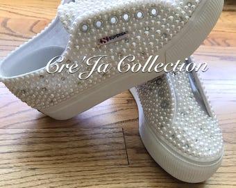Superga  Custom Shoes, Superga Wedding Shoes, Pearl Superga, Bling Superga, Bridal Superga, Wedding Superga