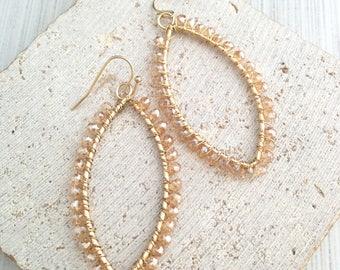 Bead Dangle Earring,Oval Dangle Earring,Bead Earring,Oval Bead Dangle Earring,Boho Earring,Boho Dangle Earring,Boho Bead Earring
