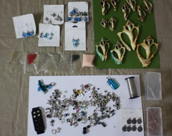 """Assorted LOT JEWELRY Making CRAFTING Supplies *Beads *Seashells *Charms *Jump Rings *Wire """"Jewelry Crafting"""" Earrings Necklaces Bracelets"""
