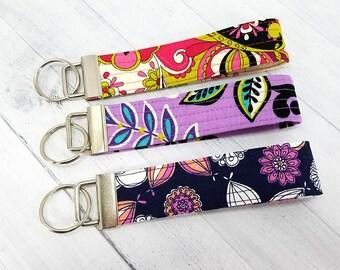 Key Wristlet - Key Fob - Key Ring - Keychain - Vera Bradley style floral - Quilted - Gift for Teacher, Mom, Best Friend, Dog Mom, Pet Sitter