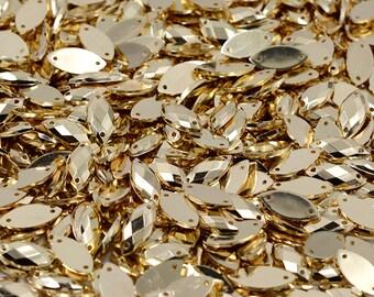 Gold Sew on Acrylic Tear Drop Diamante Crystal Gems Rhinestone Bling 7x15mm