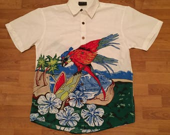 Lowes Surfing Parrot Hawaiian Tropical Vintage Button Front Shirt White Mens M