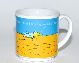 Vintage Recycled Paper Products Funny Mug, Bluebird Going Around in Circles