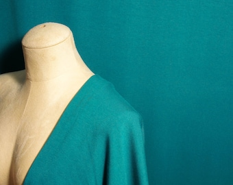 Cotton Bamboo Jersey Knit Fabric By 1/4 Metre, Teal Soft Stretch Fabric, Bamboo Fabric, Cotton Knit Fabric, Eco-friendly, Drapey Clothes