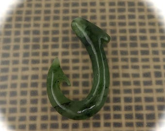 on sale Jade Maori Fish Hook Carving, Hei Matau, Hand Carved,  Free Shipping