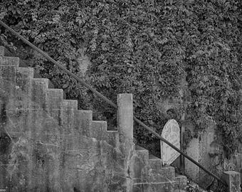 Stairs, Stairs in Black and White, Photograph, Jerome Arizona, Jerome, Ghost Town, Abandoned Places, Ivy, Old Mining Town, Mining, Ghosts