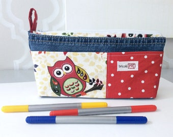 Woman pouch, pencil case, recycled jeans and cotton, cosmetic pouch
