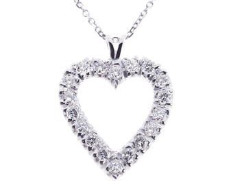 1.50 Carat Round Cut Diamond Heart Pendant on Cable Link Chain 14K White Gold