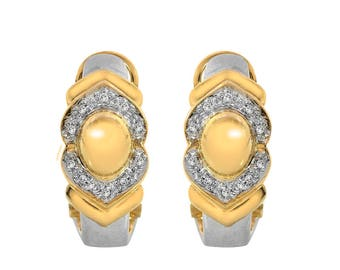0.15 Carat Diamond Huggie Omega Clip Earrings 14K Two Tone Gold