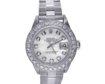 Rolex Lady Datejust 26 Stainless Steel Watch with Custom Diamond Dial & Bezel 6917