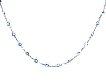 8.70 Carat Round Cut Blue Topaz Necklace 14K White Gold
