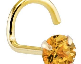 Citrine (November) - 14KT Yellow Gold Nose Twist