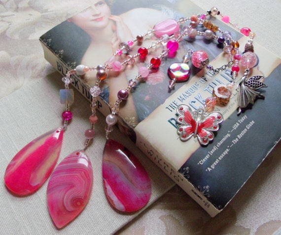 Pink teardrop bookmarks - beaded reading accessory - page marker - butterfly- fairy charms - agate pendant - for readers  - Lizporiginals