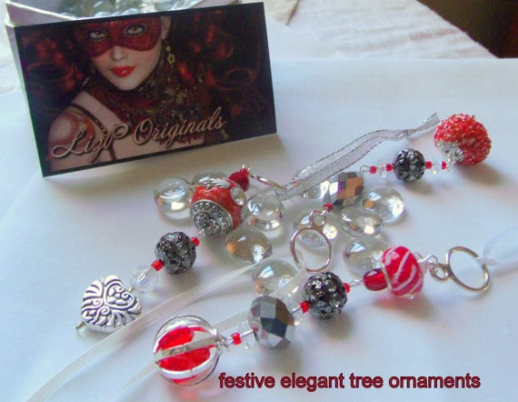 red Christmas ornament - pomegranate  statement bead - silver accents - novelty design - festive berry gift sets - holiday- tree - favors