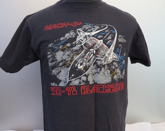 Vintage Graphic T-Shirt - The Blackbird Fighter Plane - Men's Large