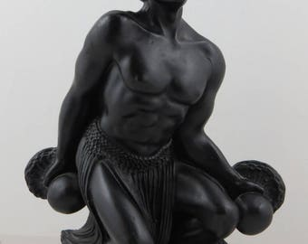 Vintage Hip Origanl Figurine - Male Polynesian Dancer - Made With Lava