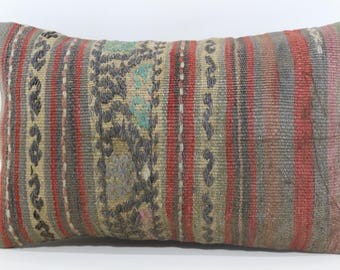Naturel Kilim Pillow Boho Pillow Sofa Pillow 12x20 Turkish Kilim Pillow Boho Pillow Ethnic Pillow Cushion Cover SP3050-1072