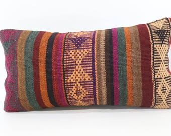 10x20 Anatolian Kilim Pillow Lumbar Kilim Pillow Sofa Pillow 10x20 Bedroom Pillow Decorative Kilim Pillow Cushion Cover SP2550-1239