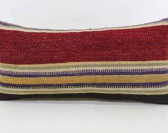 12x24 Multicolor Kilim Pillow Throw Pillow 12x24 Lumbar Pillow Red Striped Kilim Pillow Ethnic Pillow Cushion Cover  SP3060-1157