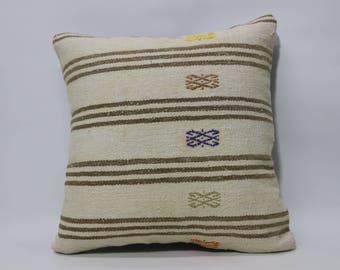 White Turkish Kilim Pillow Sofa Pillow Floor Pillow 20x20 Anatolian Striped Kilim Pillow Floor Pillow Ethnic Pillow Cushion SP5050-2188