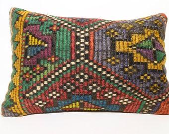 Cushion Cover Decorative Kilim Pillow  Embroidered Kilim Pillow 16x24 Turkish Pillow 16x24 Vintage Kilim Pillow SP4060-943