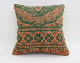 20x20 Turkish Pillows Kelim Kissen Boho Pillow Rare Orange and Green Pillow  Big Large Cushion Cover Kilim Pillows Throw Pillows SP5050-2767