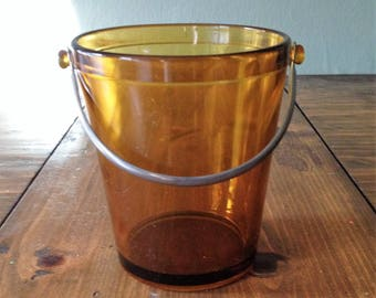 Vintage Amber Glass Ice Bucket Pail with Metal Handle Barware Party Wine Bottle Cooler Kitchen Mid Century Carry All Fostoria Style Prop