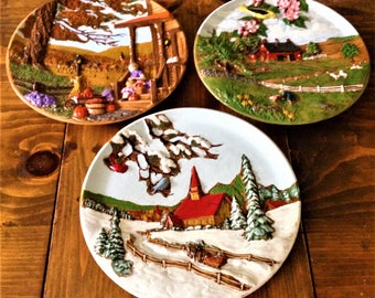 Vintage Byron Molds 3D Seasons Wall Hangins set of 3 Ceramic Retro CountryScape Fall Winter Summer Church Farm Scape Country Art Painting