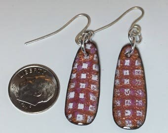 Pink - White - Squares - Enamel - Earrings