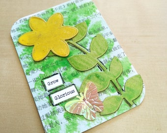 Yellow Flower Art, Miniature Art, Original ATC, Floral ACEO, Recycled Small Wall Picture, Desk Inspiration Embellishment Assemblage Artwork