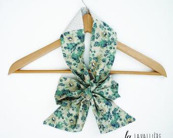 Ascot bow for women blue beige flowers