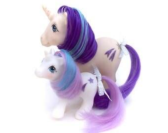 G1 My Little Pony Glory & Baby Glory Lot Set Original 1983 Vintage Unicorn Horn Ponies Purple Shooting Star 80s Hasbro Star Glitter Original